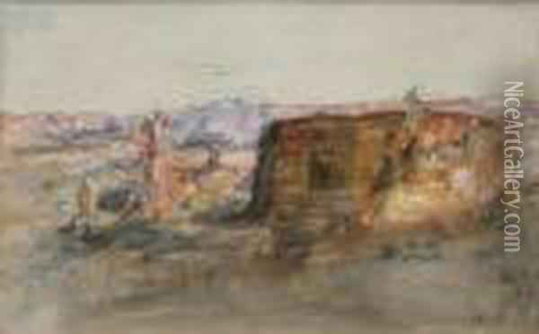 Cairo, Signed With A Monogram, Pencil Andwatercolour Oil Painting - Hercules Brabazon Brabazon