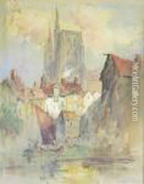 Continental Townscape With Cathedral And River Oil Painting - Hercules Brabazon Brabazon