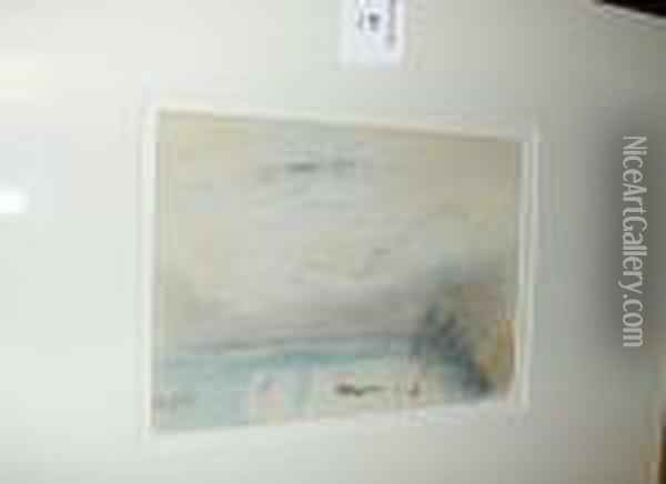 Lake Scene, Signed With Initials, Charcoal Andpastel Sketch Oil Painting - Hercules Brabazon Brabazon