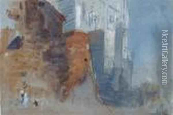 A Figure By A Tower Oil Painting - Hercules Brabazon Brabazon