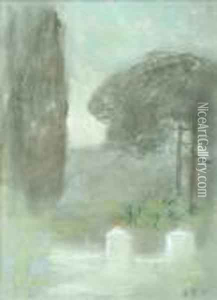 Brabazon In An Italian Garden Oil Painting - Hercules Brabazon Brabazon