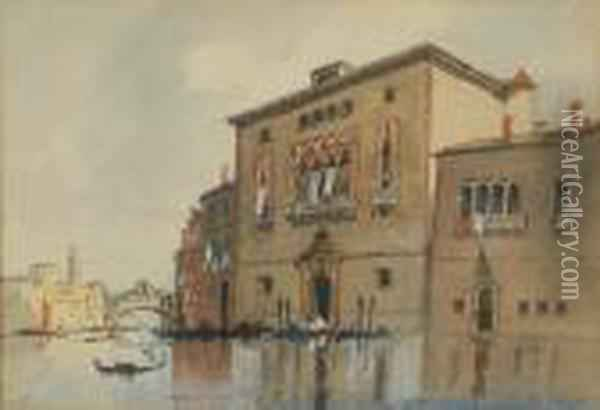 On The Grand Canal, Venice With The Rialto Bridge In The Distance Oil Painting - Hercules Brabazon Brabazon