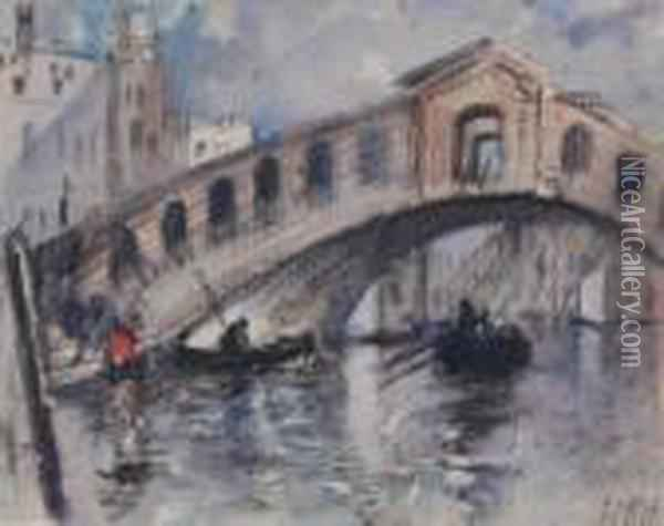 Brabazon - Venetian Bridge Oil Painting - Hercules Brabazon Brabazon