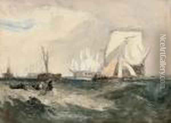 Homage To Turner: H.m.s. Indefatigable Off Spithead Oil Painting - Hercules Brabazon Brabazon