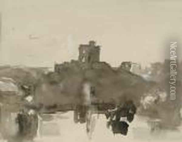 View Of A Castle By A Lake Oil Painting - Hercules Brabazon Brabazon