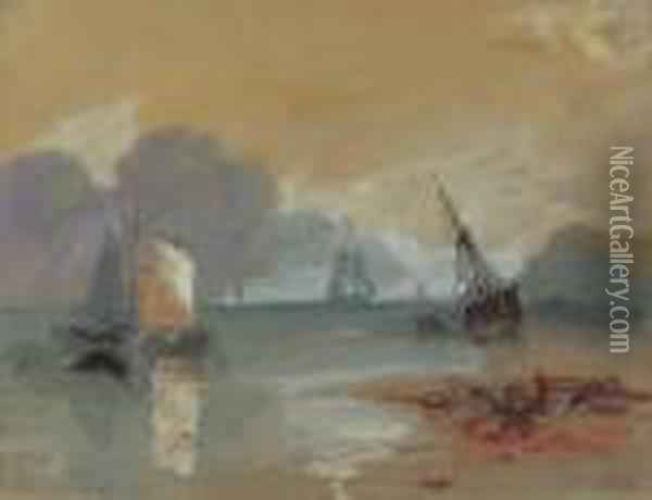 Study Of 'sun Rising Through Vapour' After Turner Oil Painting - Hercules Brabazon Brabazon