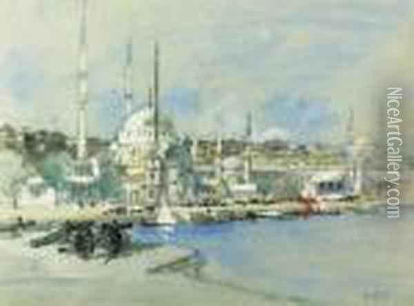 Probably The Suleymaniye Mosque  With The Sultanahmet Mosque Beyond,on The Golden Horn's West Bank,  Istanbul. Oil Painting - Hercules Brabazon Brabazon