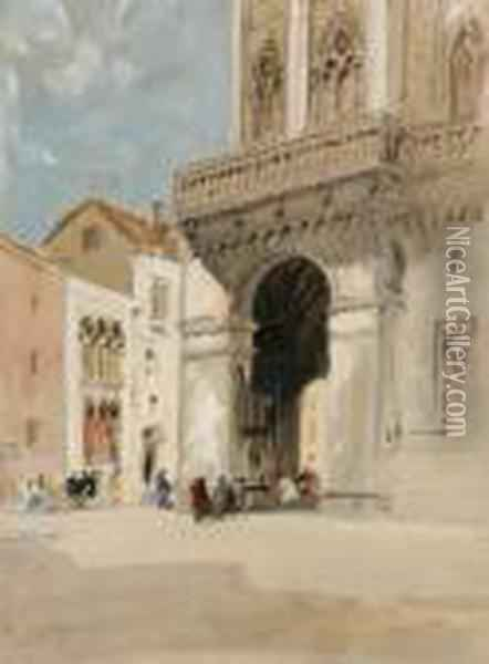 The Cathedral At Trau Oil Painting - Hercules Brabazon Brabazon
