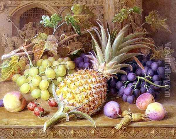 A Still Life of a Pineapple Grapes Peaches Strawberries and Hazelnuts on a Dresser Oil Painting - William B. Hough
