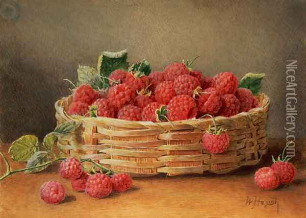 A Still Life of Raspberries in a Wicker Basket Oil Painting - William B. Hough
