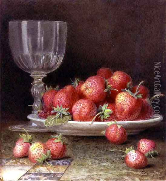 Strawberries and a Glass Oil Painting - William B. Hough