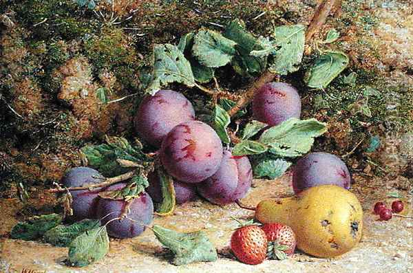 Plums Strawberries and a Pear on a Mossy Bank Oil Painting - William B. Hough