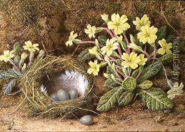 Still Life of Eggs in a Nest and Primroses Oil Painting - William B. Hough