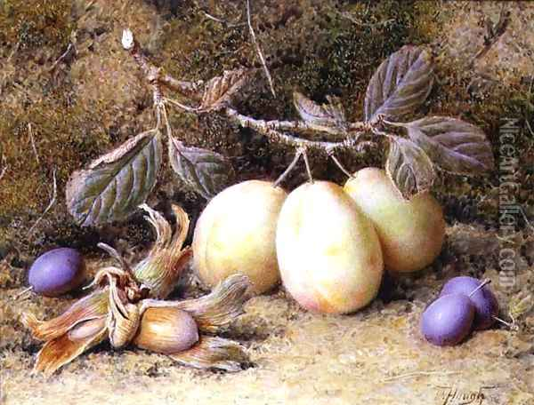 Still Life with plums and nuts Oil Painting - William B. Hough