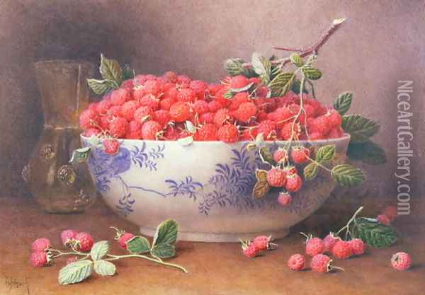 Still Life of Raspberries in a Blue and White Bowl Oil Painting - William B. Hough