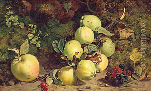 Apples And Raspberries On A Mossy Bank Oil Painting - William B. Hough