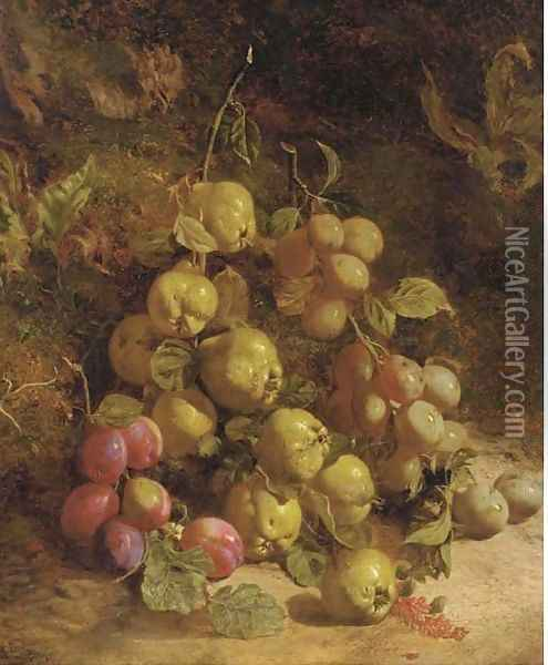Pears and plums on a mossy bank Oil Painting - William B. Hough