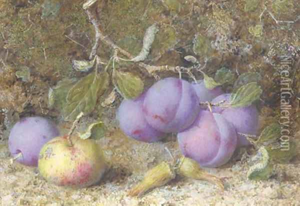 Plums, an apple and hazelnuts on a mossy bank Oil Painting - William B. Hough
