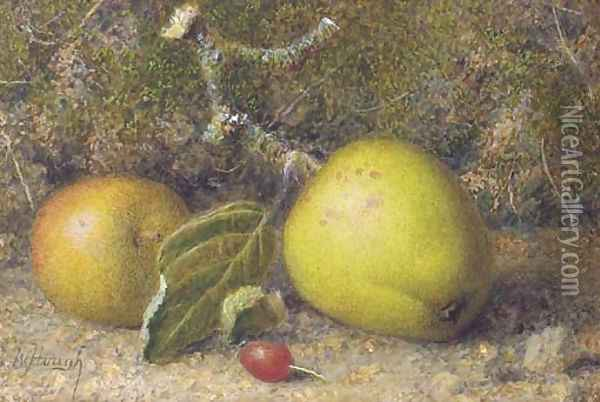 Still-life of apples on a mossy bank with a rosehip Oil Painting - William B. Hough