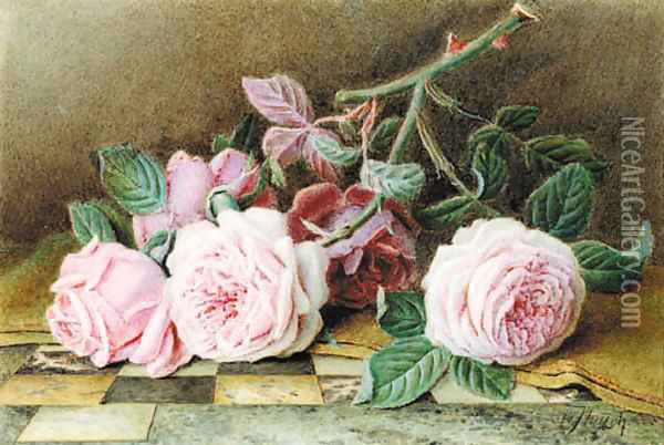 Still-life of pink roses on a marble topped table Oil Painting - William B. Hough