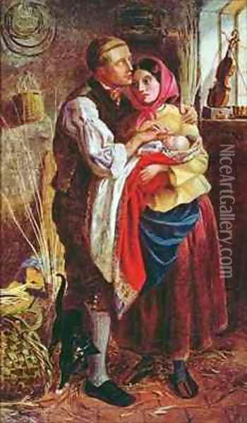 The Blind Basket Maker with his First Child Oil Painting - Michael Frederick Halliday