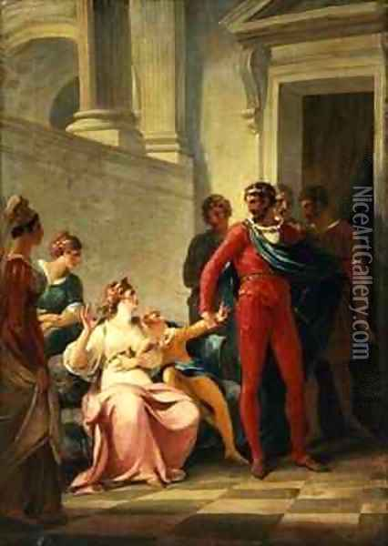 Leonites taking his son Mamilius away from his mother Act I Scene II from A Winters Tale Oil Painting - William Hamilton