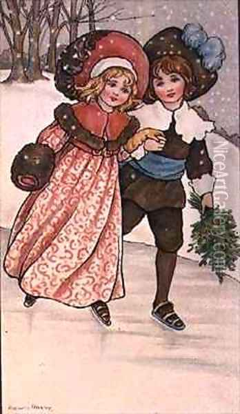 Girl and Boy Skating Oil Painting - Florence Hardy