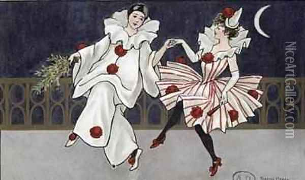 Postcard depicting Pierrot and his companion Oil Painting - Florence Hardy