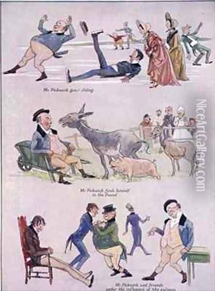 Cartoons of Mr Pickwick from Holly Leaves Christmas Number of the Illustrated Sporting and Dramatic News Oil Painting - Henry Harris