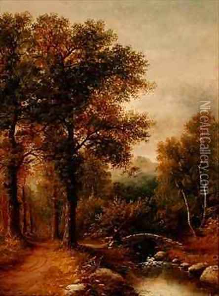 An Angler by a Woodland Stream Oil Painting - Henry Harris