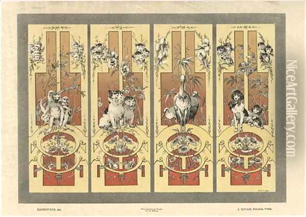 Monkeys cats herons and dogs plate 3 from Fantaisies decoratives Oil Painting - Jules Auguste Habert-Dys