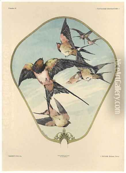Fan plate 30 from Fantaisies decoratives Oil Painting - Jules Auguste Habert-Dys