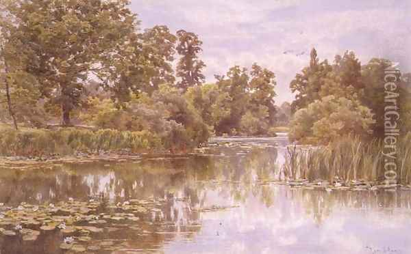 A Quiet River Oil Painting - Thomas H. Hunn