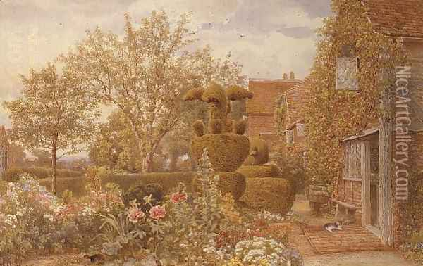 At West Horsley Surrey Oil Painting - Thomas H. Hunn