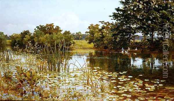 On the Wye Oil Painting - Thomas H. Hunn