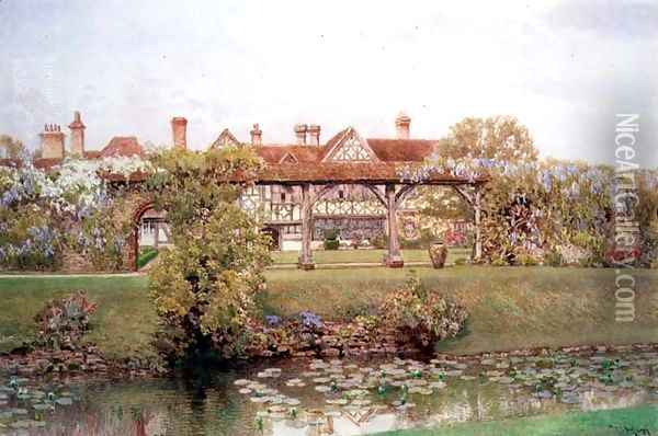 Great Tangley Manor Surrey with the Lily Pond and covered walk Oil Painting - Thomas H. Hunn