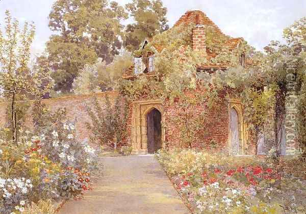 A Walled Garden with Old Garden House Oil Painting - Thomas H. Hunn