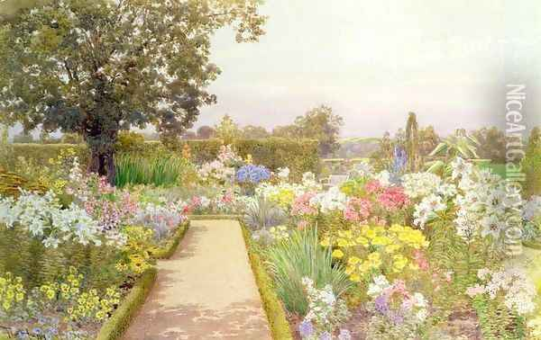 The Lily Border at Great Tangley Manor Surrey Oil Painting - Thomas H. Hunn