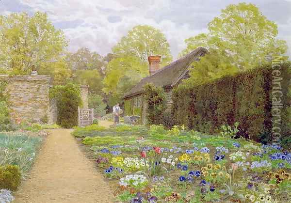 The Pansy Garden Munstead Wood Surrey home of Gertrude Jekyll Oil Painting - Thomas H. Hunn