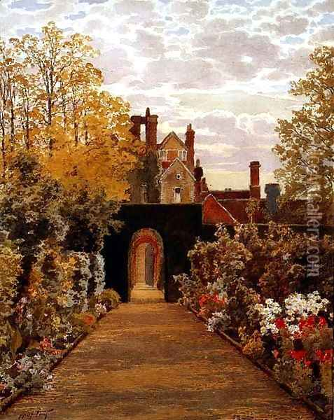 October Morning in the Gardens Loseley Surrey Oil Painting - Thomas H. Hunn