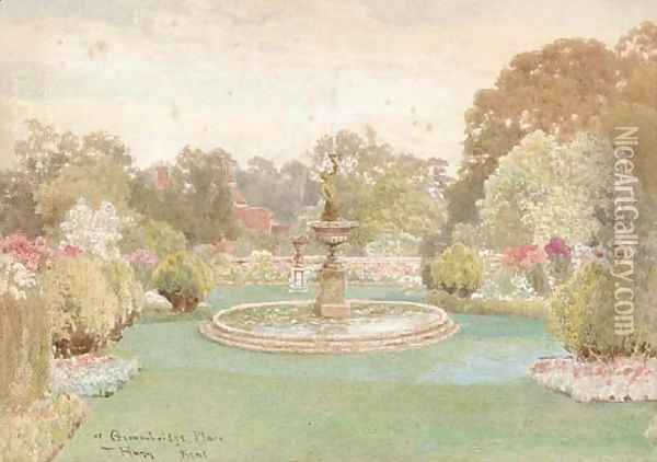 The fountain at Groombridge Place, Kent (illustrated); and The walled garden Oil Painting - Thomas H. Hunn
