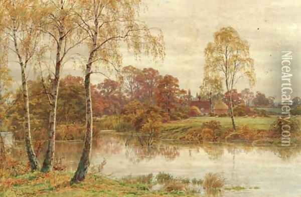 Silver birch trees beside a river with a cottage in the distance Oil Painting - Thomas H. Hunn