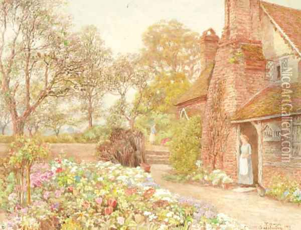 The cottage garden, Godalming Oil Painting - Thomas H. Hunn