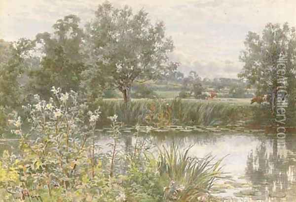 A peaceful stretch of the river Oil Painting - Thomas H. Hunn