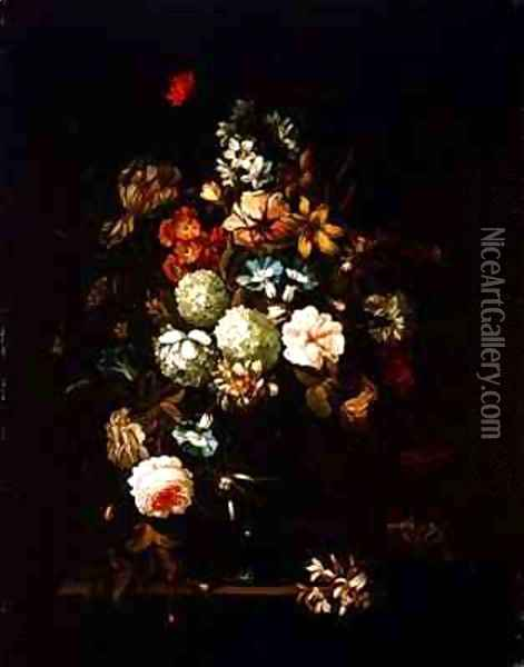 Still life with flowers in a glass vase Oil Painting - Pieter Hardime