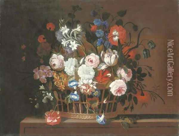Roses, tulips, morning glory, carnations, delphinium, primrose, narcissi and other flowers in a basket on a stone ledge Oil Painting - Pieter Hardime