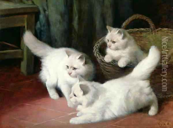 Three White Angora Kittens Oil Painting - Arthur Heyer