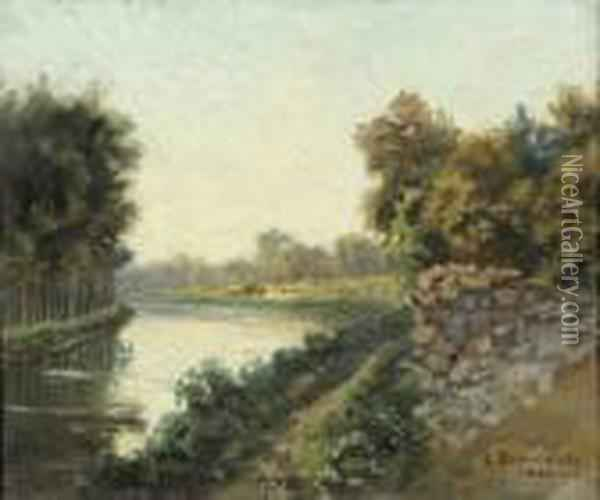 Canal Saint Martin A Chalons Oil Painting - Carlo Brancaccio