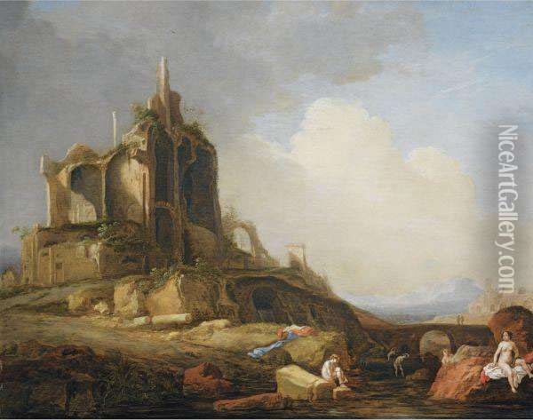 A Southern Landscape With Figures Bathing Near Classicalruins Oil Painting - Bartholomeus Breenbergh