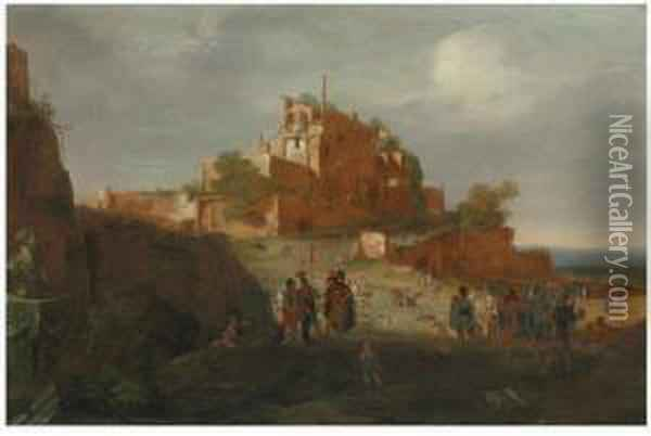 An Italianate Landscape With Soldiers And Ruins On A Hilltopbeyond Oil Painting - Bartholomeus Breenbergh